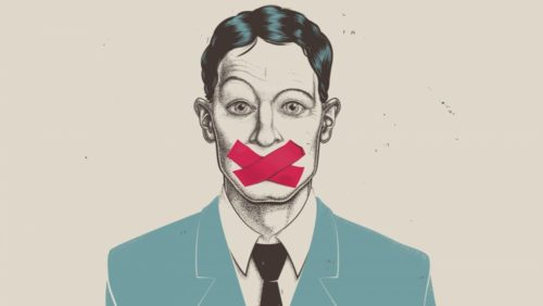 A drawing of a man with red tape over his mouth