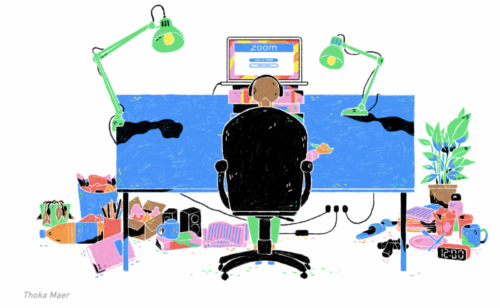 A cartoon of a person on a Zoom video call at their desk