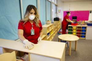 Two women wearing face masks disinfect surfaces in a kindergarten classroom