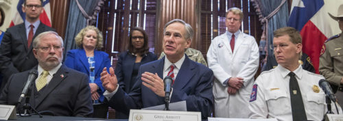Texas governor Greg Abbott holds a press conference to speak about the COVID-19 pandemic