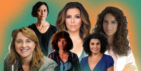 Collage featuring six prominent Latina actresses